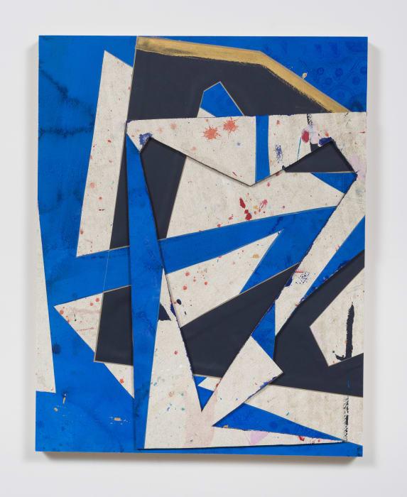 Untitled (bl.wht.flr.ppr.bl.wht.crdbrd.) by Lecia Dole-Recio