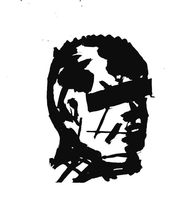 Head (Man with Redacted Eyes) by William Kentridge