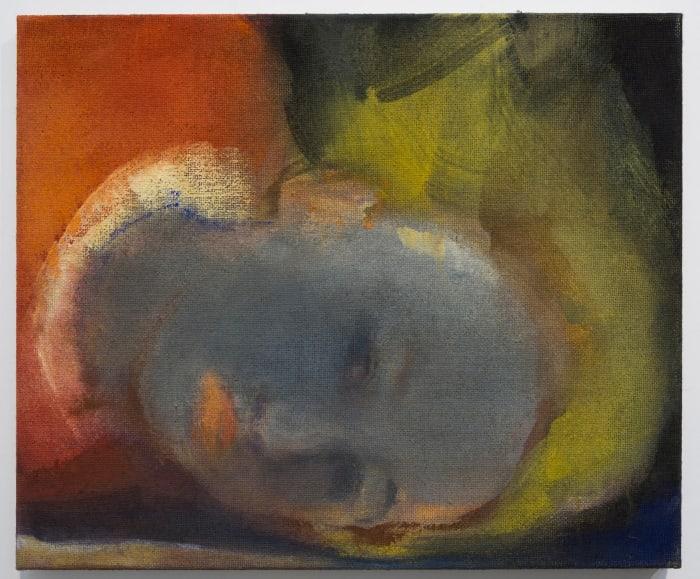 Reclining Face Grey (after Gerhard Richter) by Leiko Ikemura