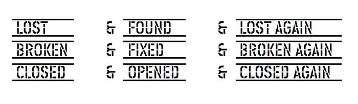 LOST & FOUND & LOST AGAIN, BROKEN & FIXED & BROKEN AGAIN, CLOSED & OPENED & CLOSED AGAIN by Lawrence Weiner