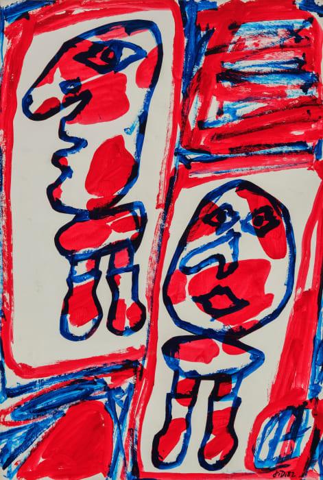 Site aléatoire avec 2 personnages by Jean Dubuffet