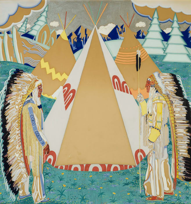 Bob Riding Horse and Chief Shot Both Sides [Center Panel of Triptych] by Winold Reiss