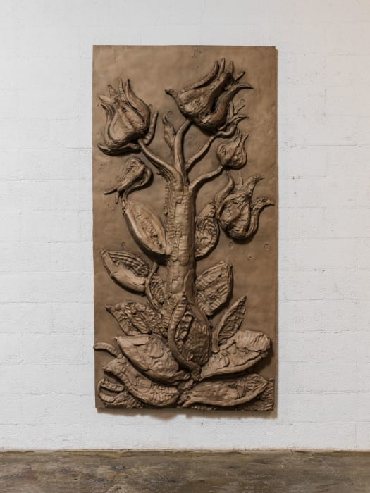 Yet to be titled (flowering plant panel) by Thomas Houseago