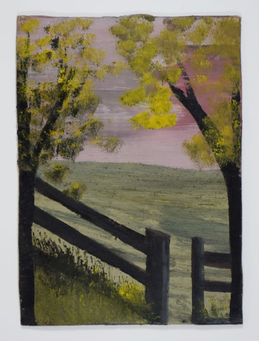 Landscape with Fences and Two Trees with Yellow Blossom by Frank Walter