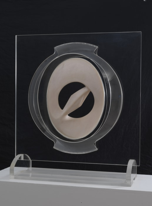 Construction in Space with Rose Marble Carving (Variation No. 2) by Naum Gabo