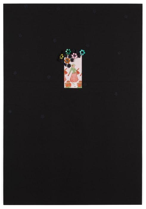 Untitled (NFS16-Olive Brown Handbag-Black Flowers on Black) by Tobias Kaspar