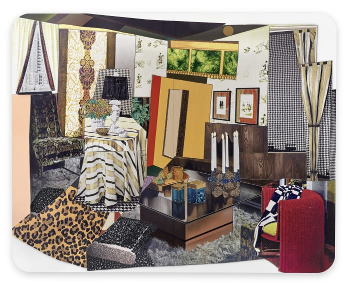 Interior: Wicker Red Chair, Leopard Rug and Candles by Mickalene Thomas