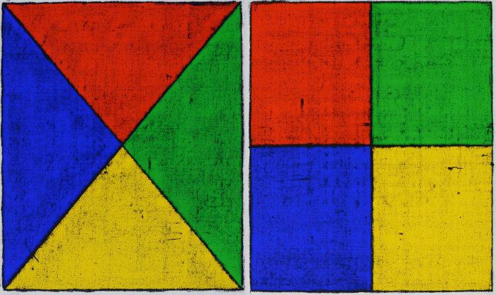 Untitled (Colored Borders, Quartered I, II) by Matt Mullican