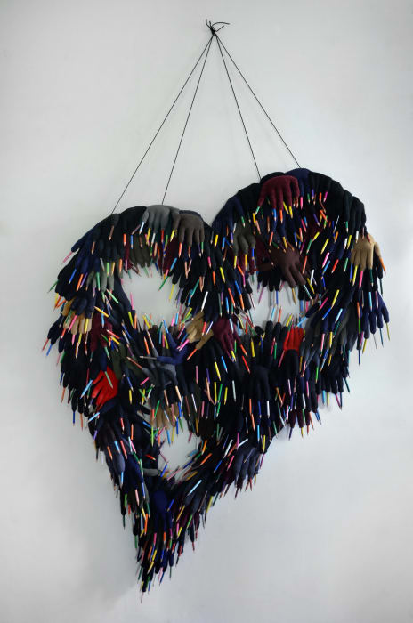 Coeur-crayons (Heart Gloves) by Annette Messager