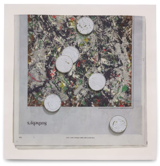 Painted coins (white on green) by Paul Sietsema