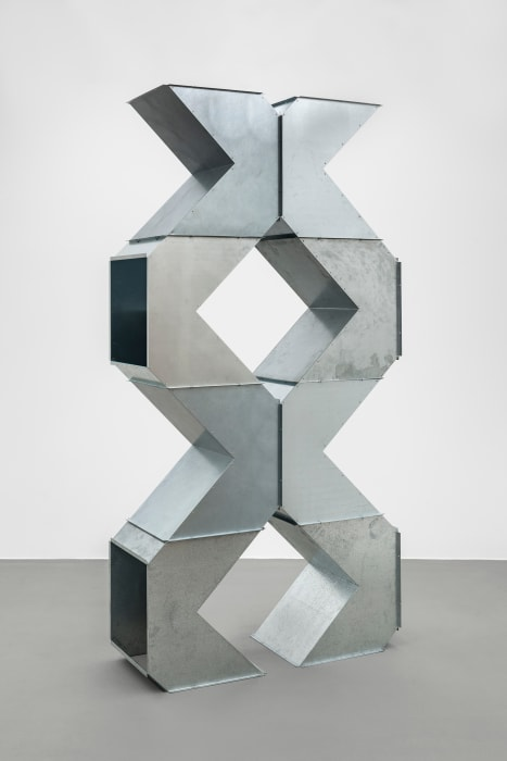 Square tubes Series D, T pieces by Charlotte Posenenske