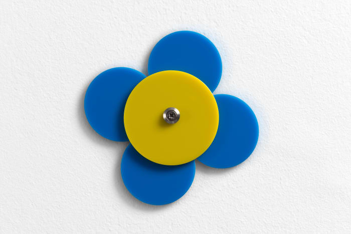 Blue and yellow acrylic glass, metal screws, washers by Gerwald Rockenschaub