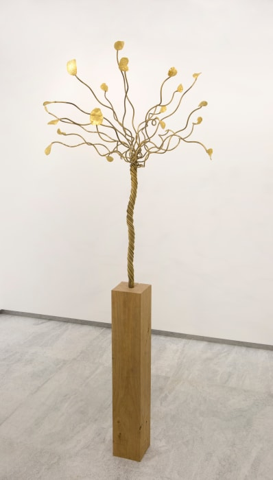 Instant Gratification (chips tree on wood) by François Morellet