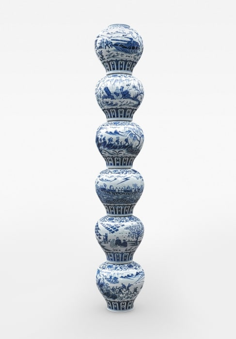 Stacked Porcelain Vases as a Pillar by Ai Weiwei