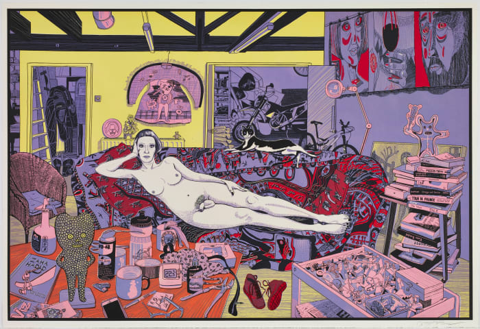 Reclining Artist (etching) by Grayson Perry