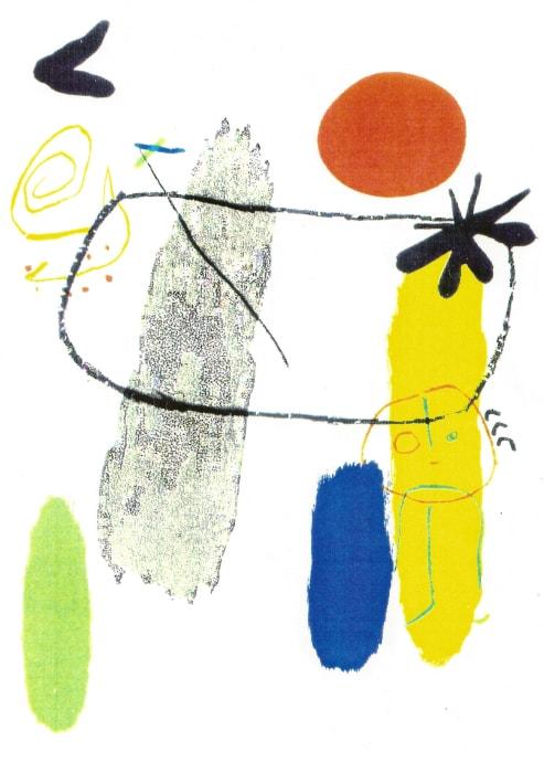 Personatge i sol vermell by Joan Miró