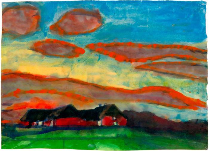 Seebüll Farm in Nordfriesland - Evening Mood by Emil Nolde