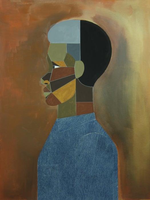 Young Man in Deep Orange by Derrick Adams
