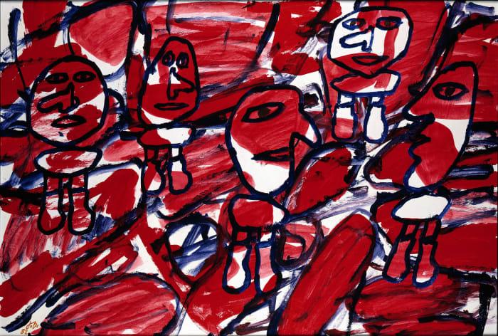 Site aléatoire avec 5 personnages (F 64) 18 mai 1982 by Jean Dubuffet