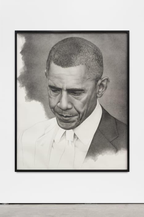 """Unfinished Obama (mirrored)"" by Karl Haendel"