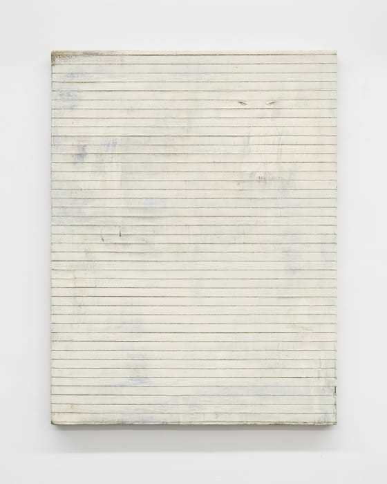 Untitled (cut painting, white) by Lawrence Carroll