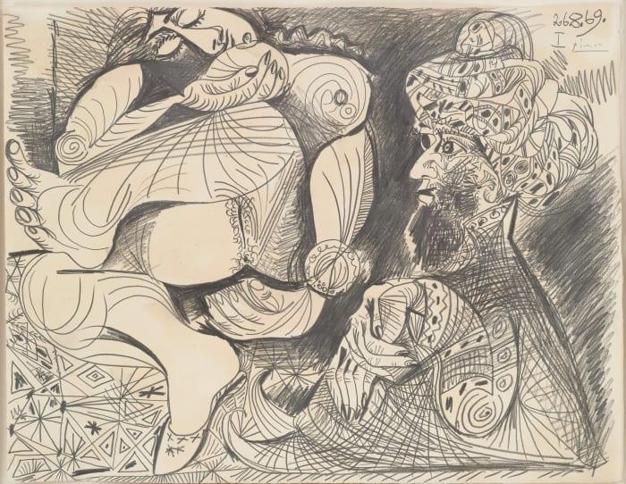 Homme au turban et nu couché by Pablo Picasso