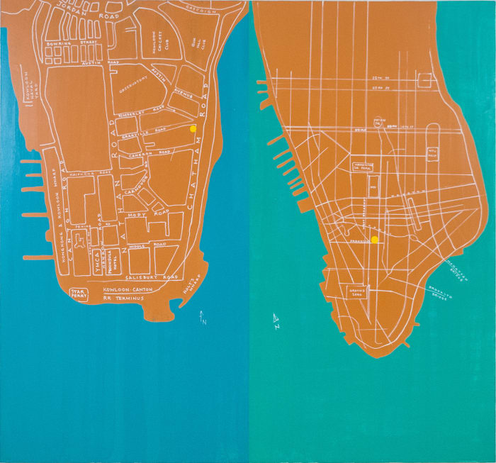Kowloon and Manhattan by David Diao