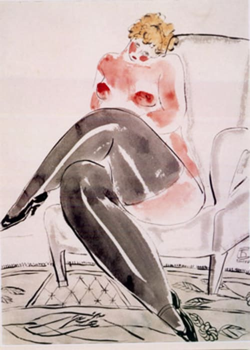 The Nude in Black Stocking on the Sofa Chair by Sanyu