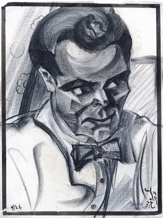 Portrait of Man with Bow Tie by Yun Gee