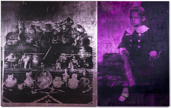 Boy (magenta) & pink ceramics by Brook Andrew