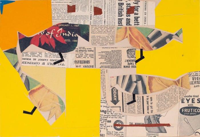 Shantiniketan - paper collage with Birds by Benodebehari Mukherjee