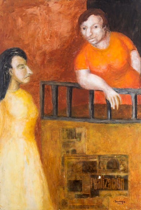 Untitled (Figurative scene with two women speaking over a balcony) by Teresa Burga