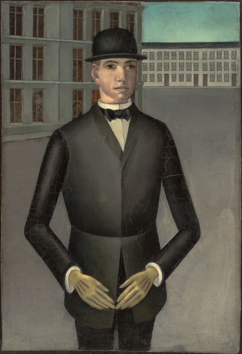 Young man with yellow gloves by Anton Raederscheidt