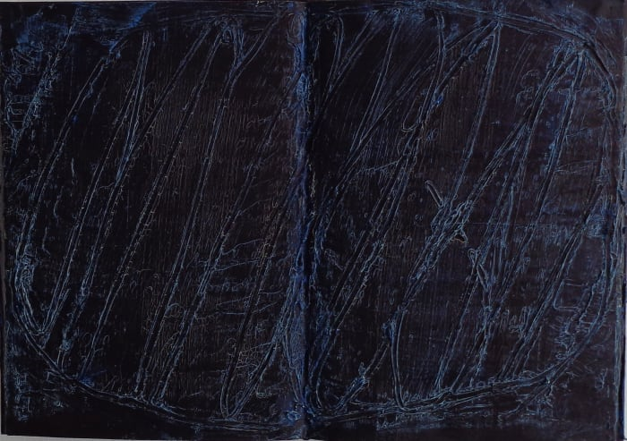 untitled (darkblue) by László Lakner