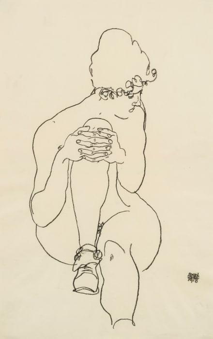 Sitzender Akt, mit emporgezogenem rechten Knie, nach rechts blickend/Seated Nude with Right Knee Raised, Looking to the Right by Egon Schiele