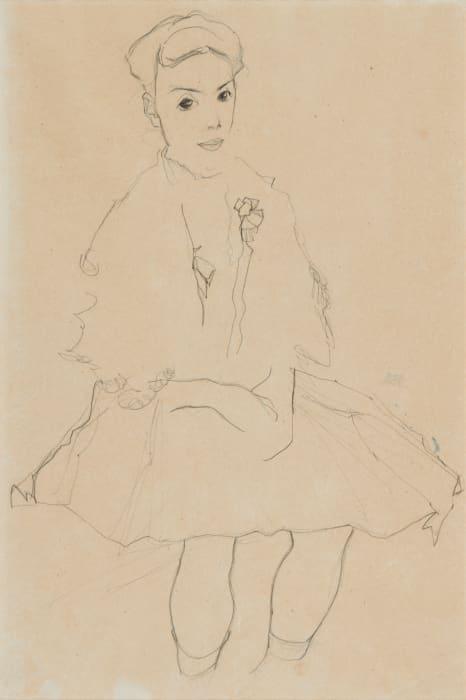 Mädchen im Faltenrock/Girl in Pleated Skirt by Egon Schiele
