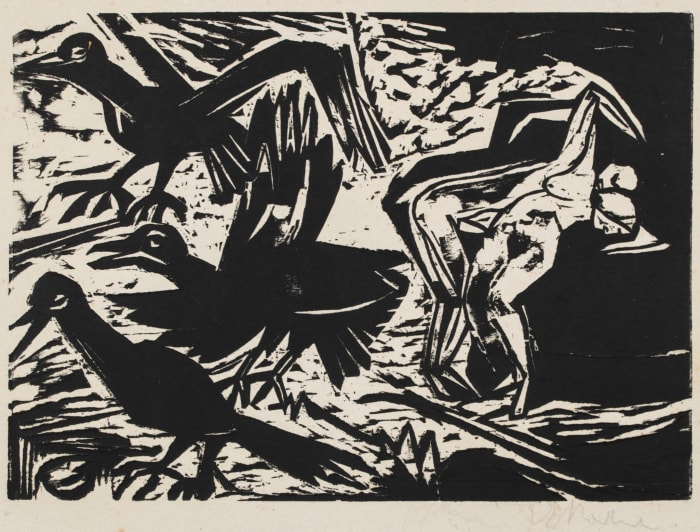 Liebespaar mit Raben/Lovers with Ravens by Ernst Ludwig Kirchner