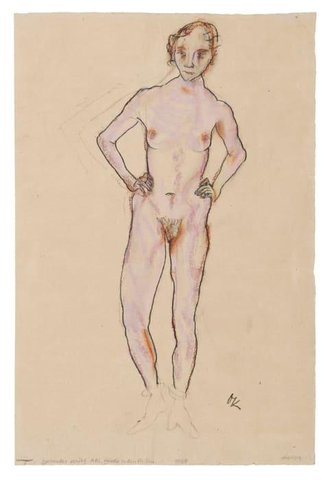 Stehender weiblicher Akt, die Hände in den Hüften/Standing Female Nude, Hands on Hips by Oskar Kokoschka