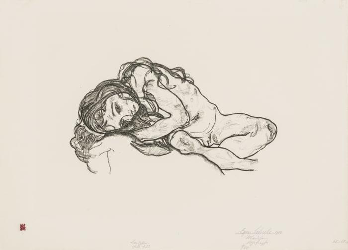 Liegendes Mädchen (Girl) by Egon Schiele