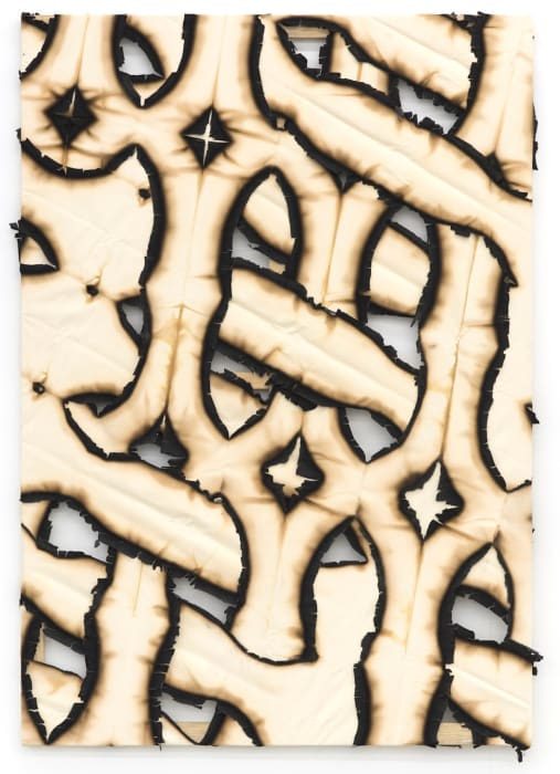 Untitled (Burnt canvas) by Ariel Schlesinger