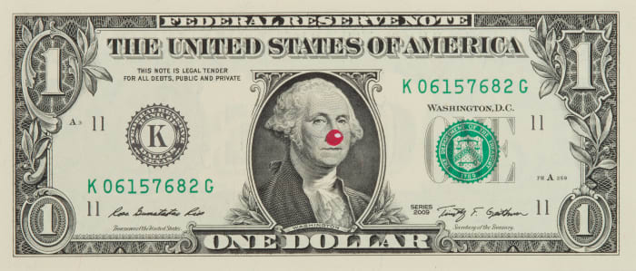 One Dollar Bill with Red Nose by Hans-Peter Feldmann