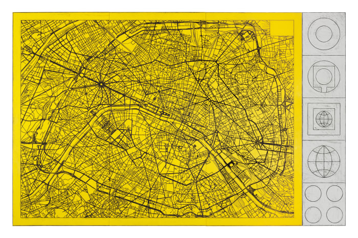 Untitled (Paris Street Map II with signs) by Matt Mullican