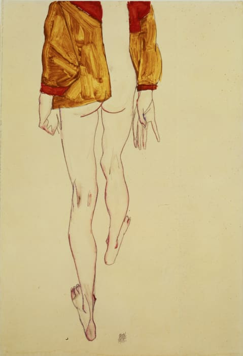Standing Semi Nude with Brown-Green Vest, back view by Egon Schiele