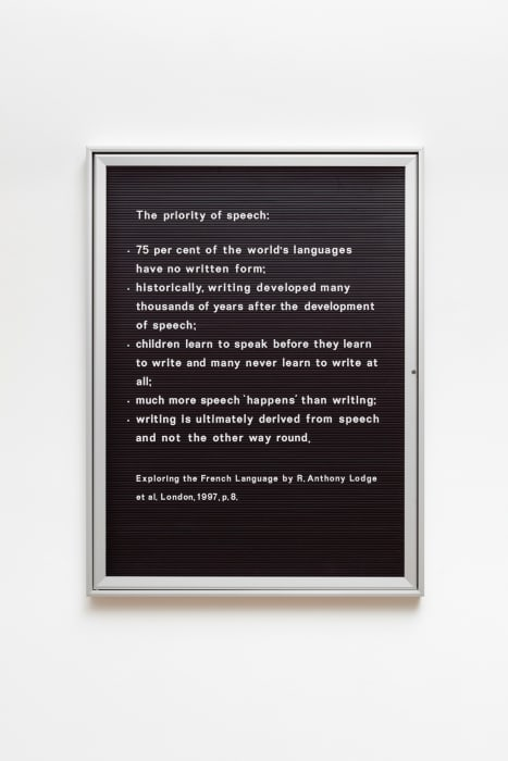 Untitled (The priority of speech...) by Bethan Huws