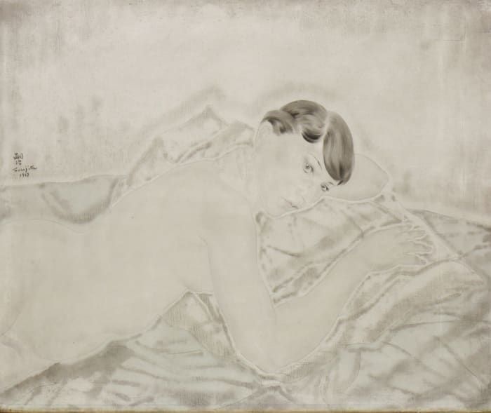 Nu allonge sur le ventre by Leonard Tsuguharu Foujita