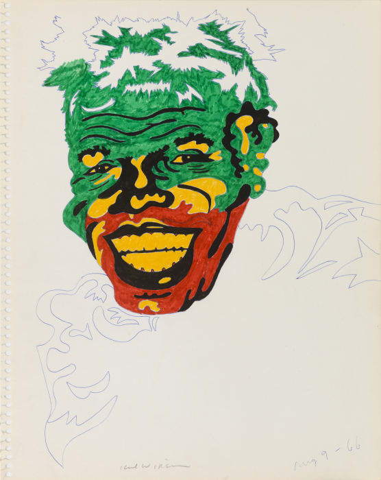 "Untitled (Study for James Brown as Conrad Veidt in ""The Man Who Laughs"") by Karl Wirsum"