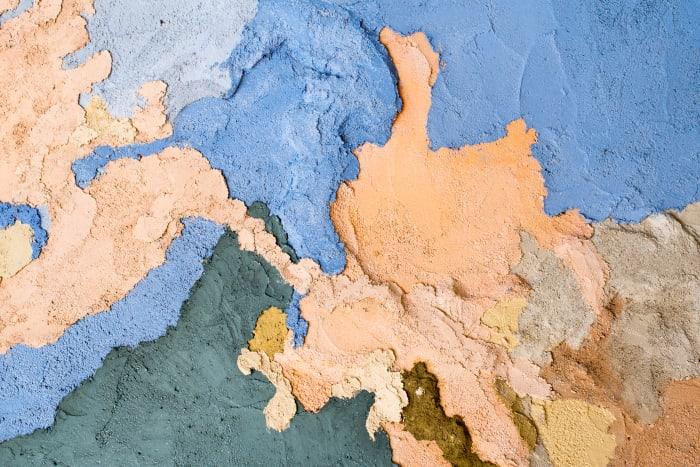 Porziuncola - Detail of the coloured concrete by Edoardo Piermattei