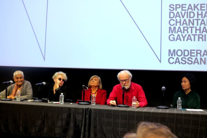 Seminar Lecture, David Harvey, Chantal Mouffe, Martha Rosler, Gayatri Spivak, Cassandra Guan, Activism  and Critique, Whitney Museum of American Art,  New York, 10/20/2018 (image 1/4) by Rainer Ganahl