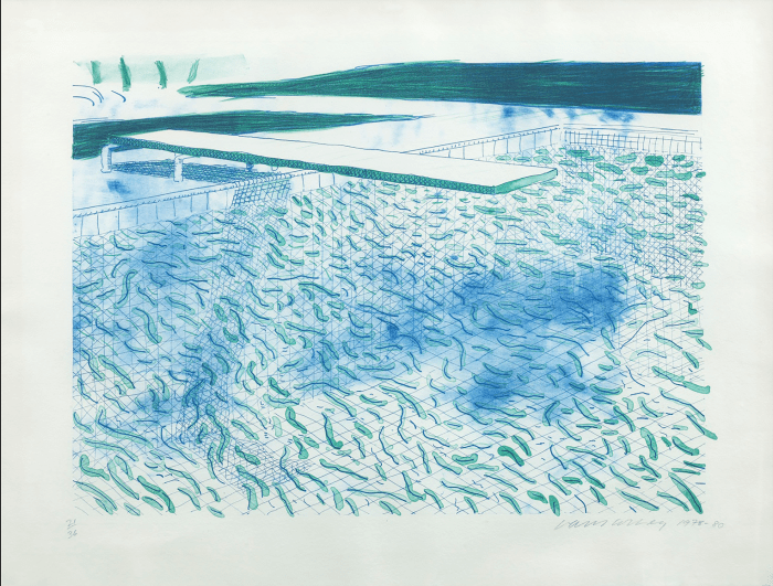 Lithograph of Water made of Lines by David Hockney