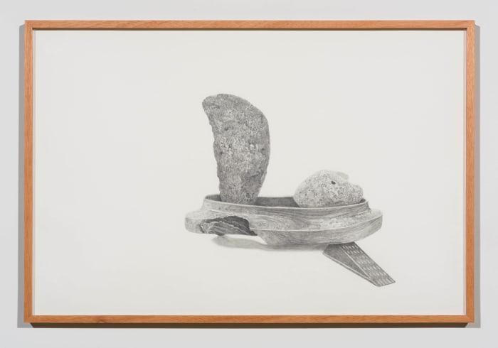 Two rocks, one pumice split in half, one generic rock, n.d. reconstruction (doorstop) by Gala Porras-Kim
